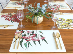 Eucalypt Placemats - 4 x Assorted Dining Placemats, Double sided Placemat size - W 29cm x