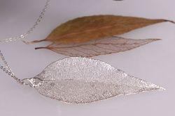 Eucalyptus Real Leaf Pendant - Silver
