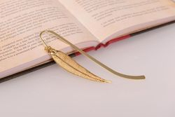 Red Gum Eucalyptus Real Leaf Bookmark - Gold