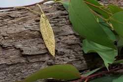 GOLD EUCALYPTUS RED GUM REAL LEAF PENDANT