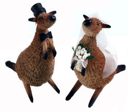 Kangaroo Bride and Groom Wedding Cake Topper