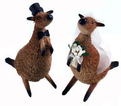 Kangaroo Bride and Groom Wedding Cake Topper
