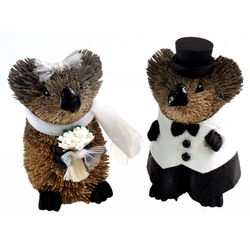 Koala Bride and Groom Wedding Cake Topper