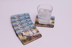 Kookaburra Country Scene Coasters by Ashene - set of 6