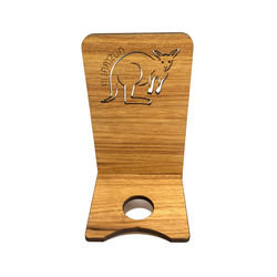 Kangaroo Phone Charger Stand made with Australian Blackwood from sustainable forests.
