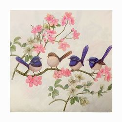 Napkins  Wrens on White - Serviettes