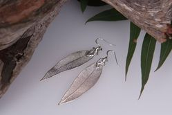 Red Gum Real Leaf Earrings - Silver