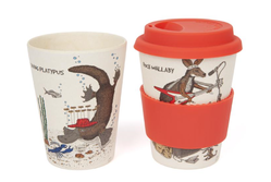 Reverse side of the rock wallaby keep cup features the whimsical illustration of diving pl