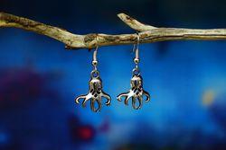 Octopus Earrings - Silver