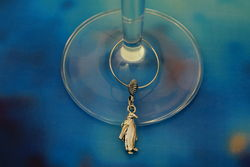 Silver Penguin Wine Glass Charm - The Land Down Under