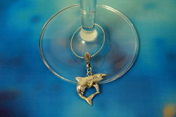 Silver Shark Wine Glass Charm - The Land Down Under