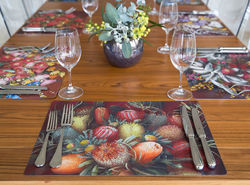 Wildflower Placemats - 4 x Assorted Dining Placemats, Double sided Placemat size: W 299mm