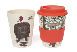 This keep cup features whimsical illustrations of wombat and robin. This keep cup is biode